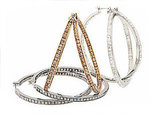 Silvertone Hematite Crystal, Goldtone Light Topaz Crystal, or Silvertone Clear Crystal Medium Hoops: $95 per pair