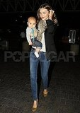 Miranda Kerr at LAX with Flynn Bloom.