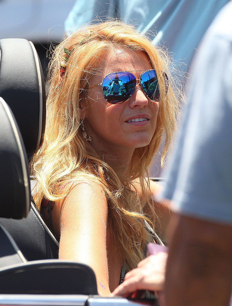 Blake Lively wore a string bikini top on set.