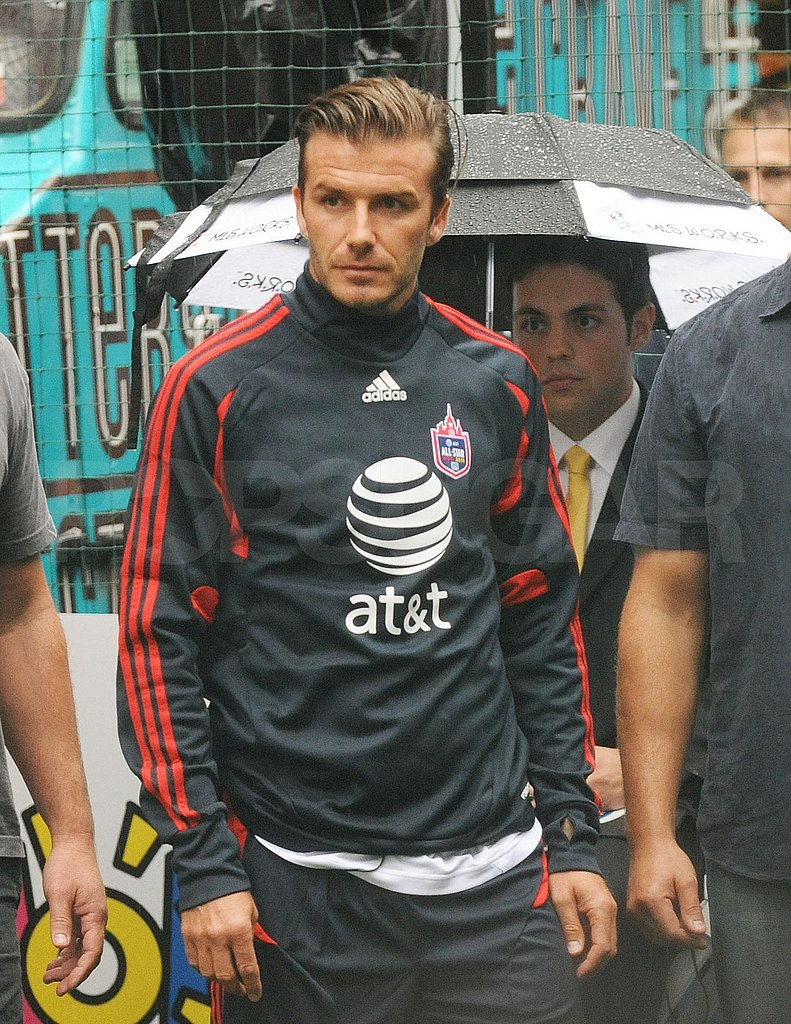 David Beckham debuted his blue and red all-star uniform in NYC.
