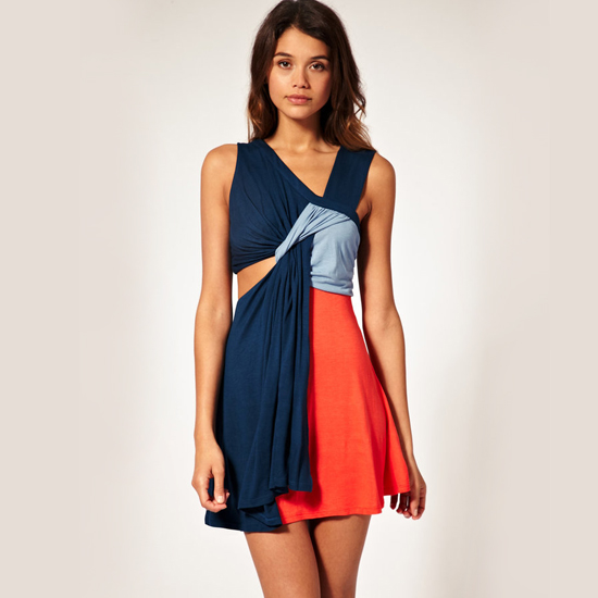 Asos Color Block Dress with Cut-Out Side, $69