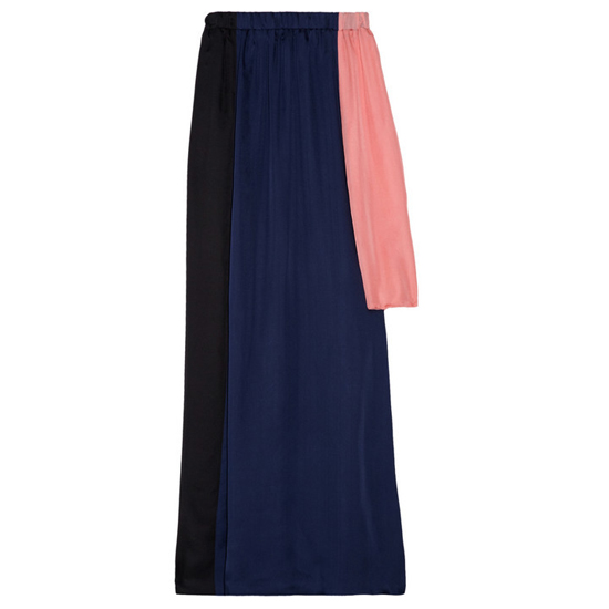 Cynthia Rowley Asymmetric Color Block Silk Skirt, $310