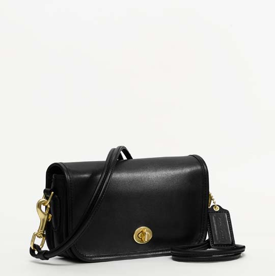 Coach Classic Leather Shoulder Purse in Black, $298