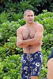 Jake Gyllenhaal wore Hawaiian-inspired swim trunks.