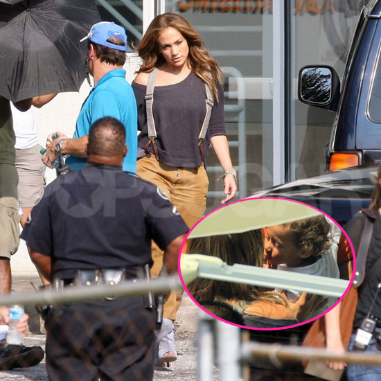Jennifer Lopez Gets a Visit From Max and Emme on Set