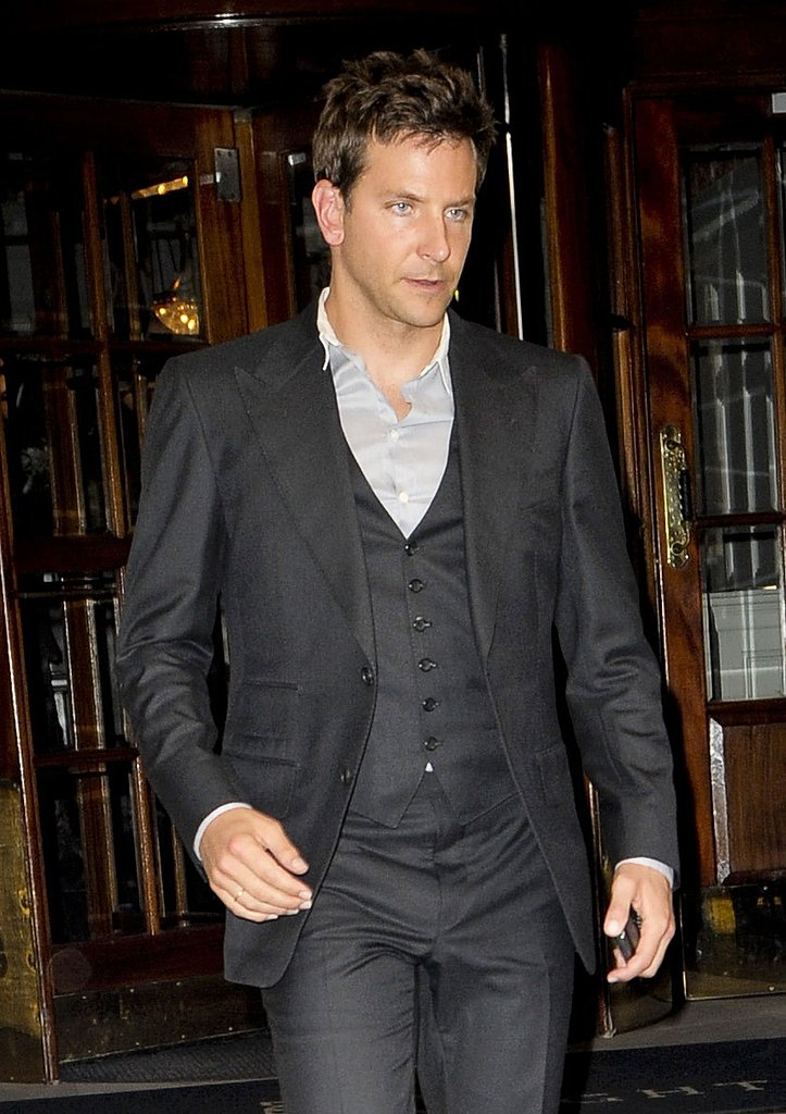 Bradley Cooper wore a suit but no tie.