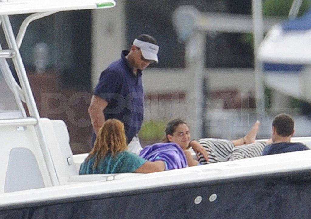Alex Rodriguez relaxed on the boat.