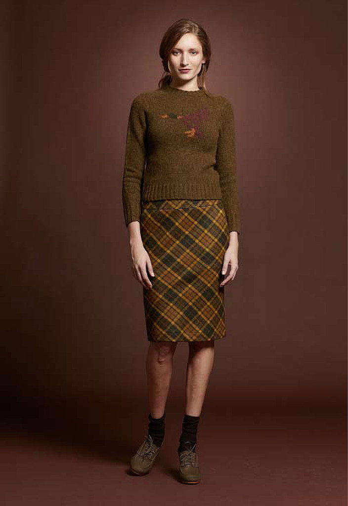Brushed Lambswool Crewneck Sweater, $89; Wool Pencil Skirt, $119; Canvas High Heel, $129