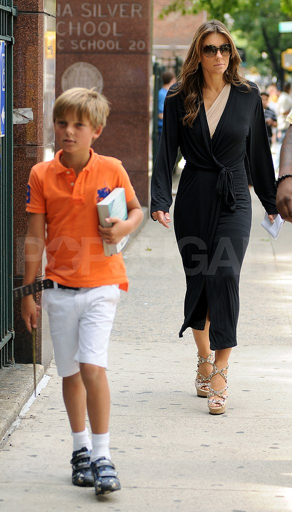 Elizabeth Hurley and son Damian on the NYC set of Gossip Girl.