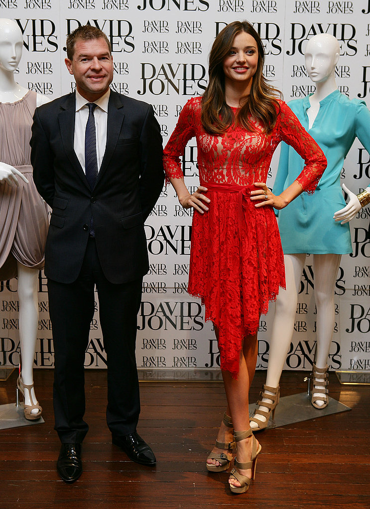 Miranda Kerr and with David Jones general manager Sacha Laing.