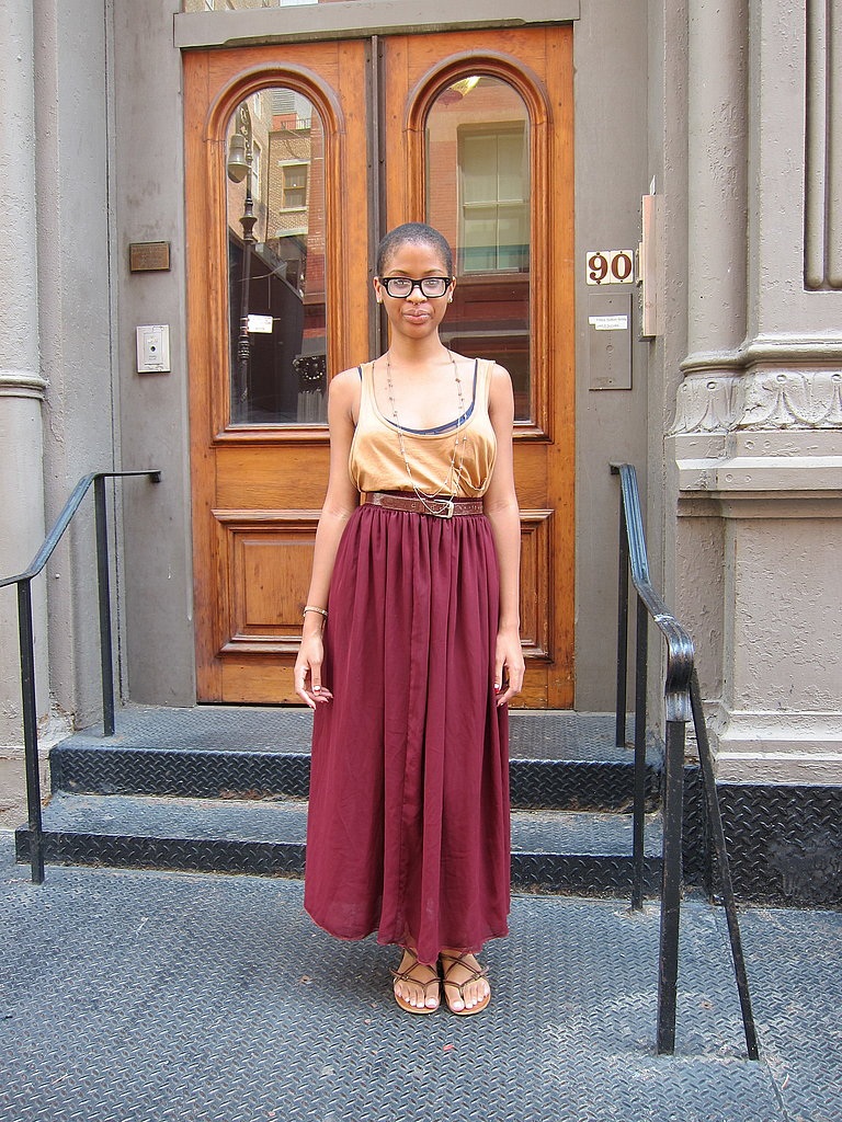Maxi skirts work well in the heat because they're billowy and circulates air flow.