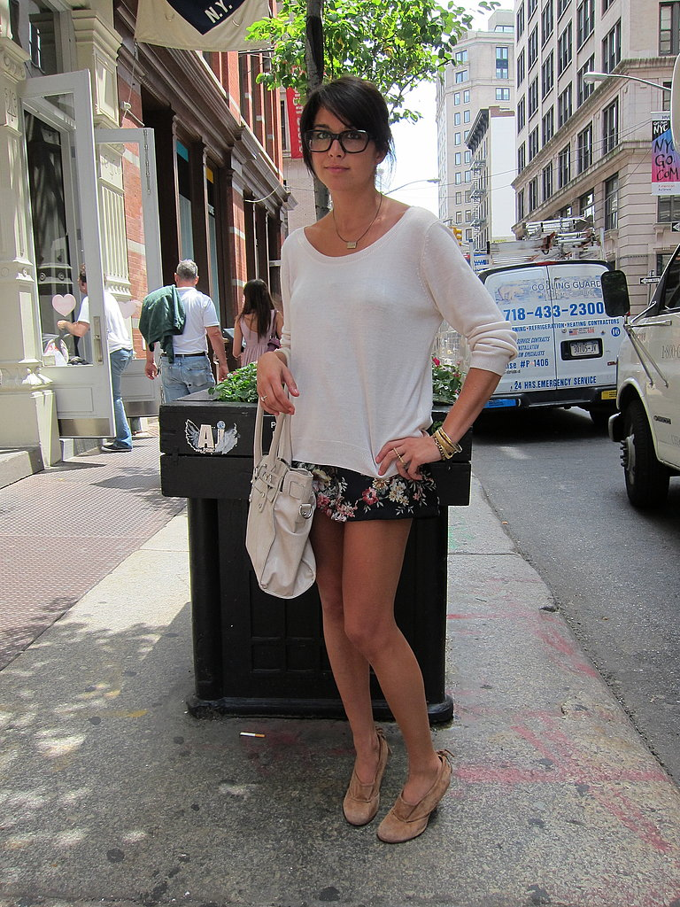 We love the geek glasses, short skirt, and oversize top combo.