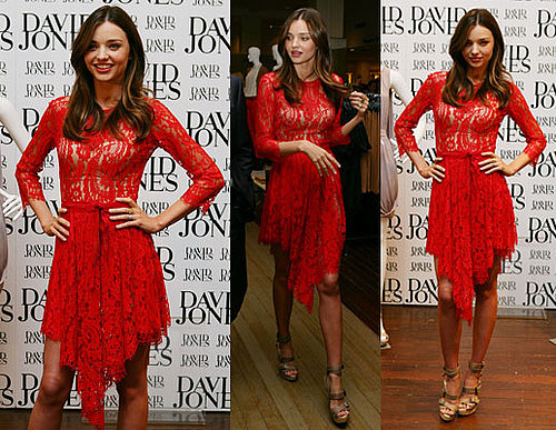 Pictures of Miranda Kerr in red lace Lover Dress for David Jones Brand Launch in Sydney