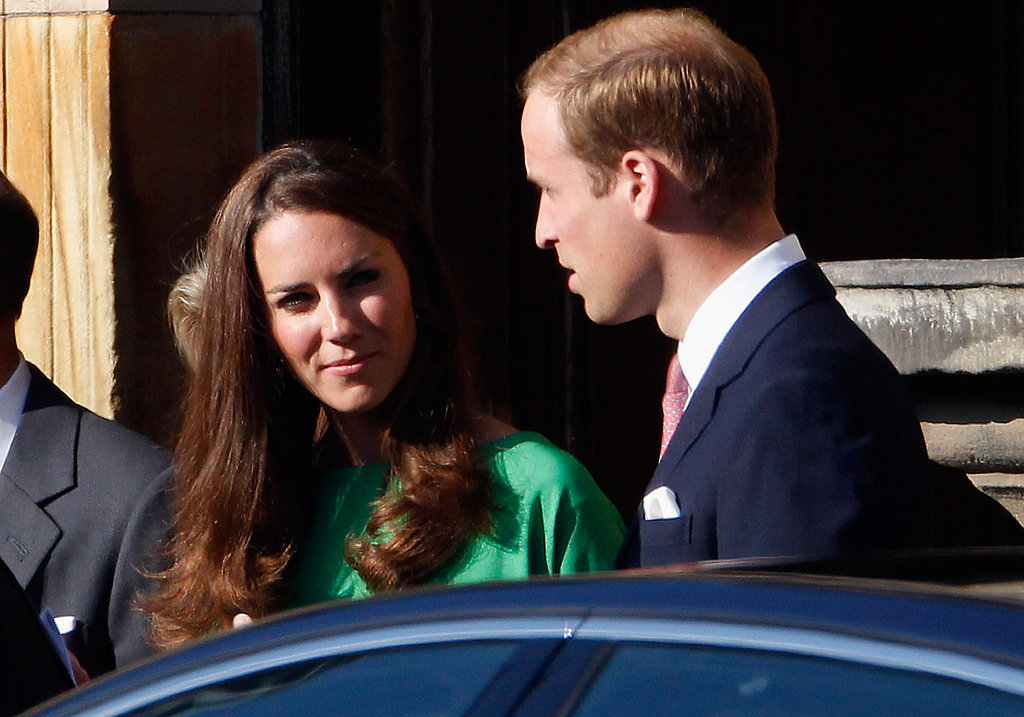 Kate Middleton in green.