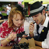 A couple enjoy mussels at the Vintage Festival.