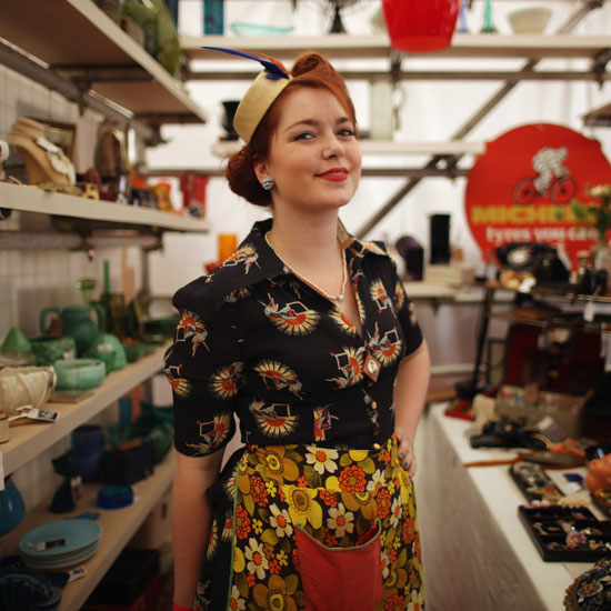 A woman looks retro-chic at the fest.