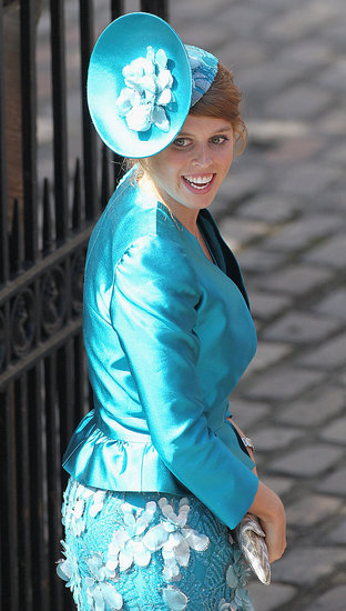 Princess Beatrice in teal at Zara Phillips and Mike Tindall's wedding.