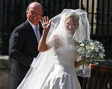 Zara Phillips in a veil and tiara.
