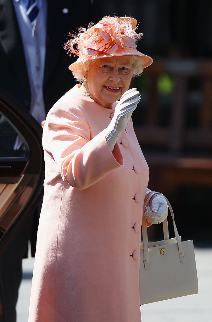 Queen Elizabeth at Zara Phillips's wedding.