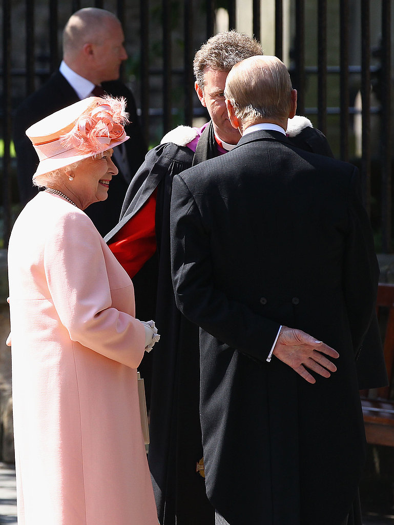 Queen Elizabeth II and Prince Philip, Duke of Edinburgh, attend the royal wedding.