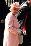 Zara's grandmother Queen Elizabeth II looks perfect in peach.