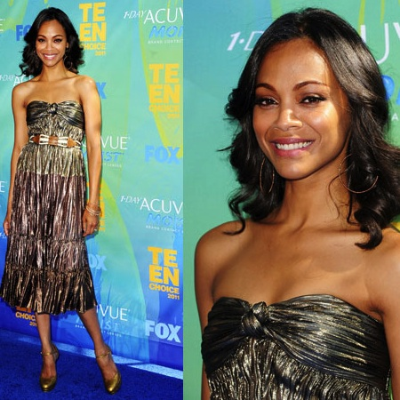Zoe Saldana at 2011 Teen Choice Awards in Gold Lanvin Dress: Do you love or loathe?