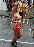 Rihanna ran through the streets in her bikini.