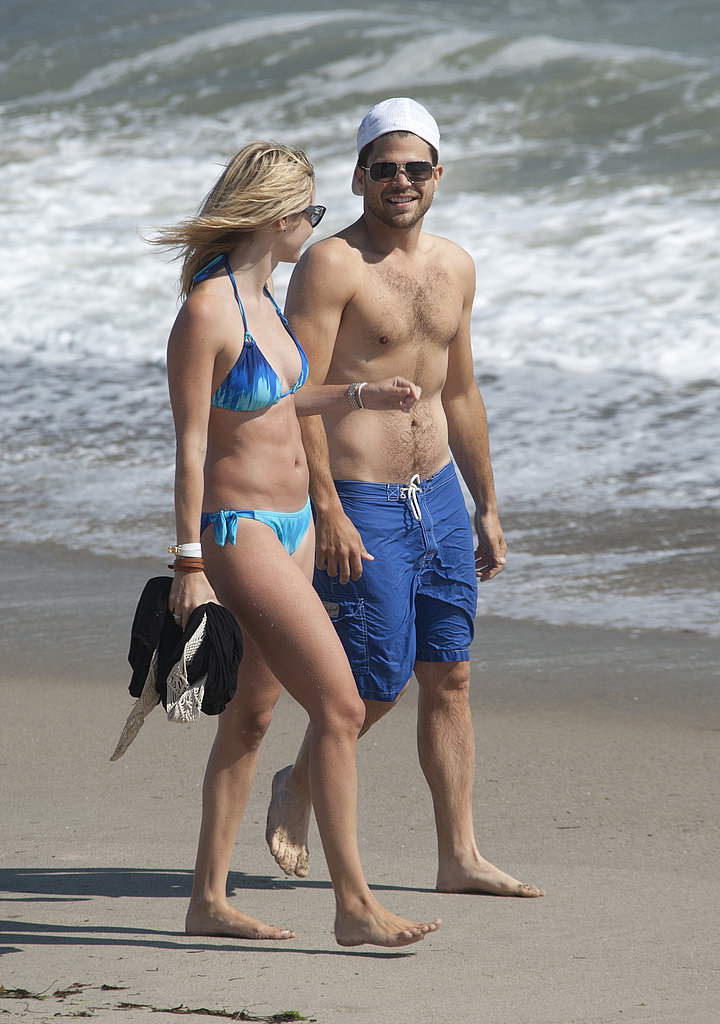 Shirtless Jerry Ferrara and bikini-clad Alexandra Blodgett.