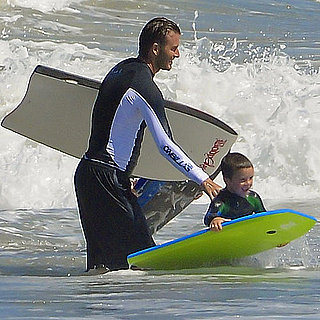 David Beckham and Gordon Ramsay Boogie-Boarding Pictures