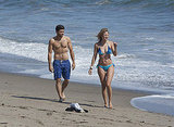 Shirtless Jerry Ferrara and girlfriend Alexandra Blodgett in a bikini.
