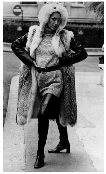 Ultraglamorous layers and materials, like fur and leather, became a staple of the YSL look.