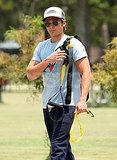 Zac Efron travels with his own fitness equipment.
