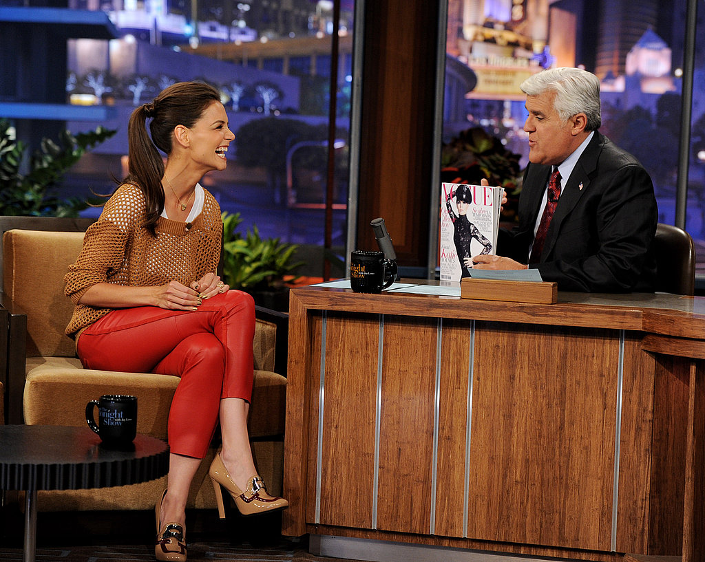 Katie Holmes laughs on the Tonight Show.
