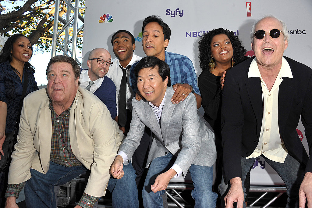 Jim Rash, John Goodman, Donald Glover, Danny Pudi, Ken Jeong, Yvette Nicole Brown, and Chevy Chase attend the NBC Universal press party.