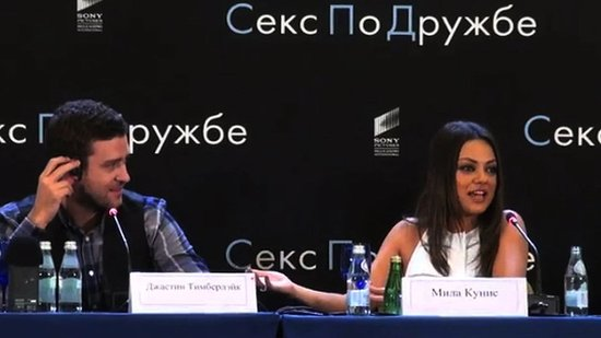 Video: Mila Kunis Defends Justin Timberlake — in Russian! — as Romance Rumors Continue