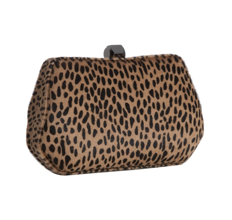 Add a pop of wild print to a bold colored look, like Daisy Lowe's red dress, with this perfect box clutch. Rebecca Minkoff Calf Hair Leopard Print Fling Clutch ($195)
