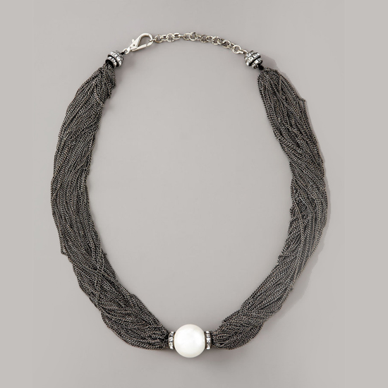 Oscar de la Renta Mesh-Chain Pearl Necklace, $595