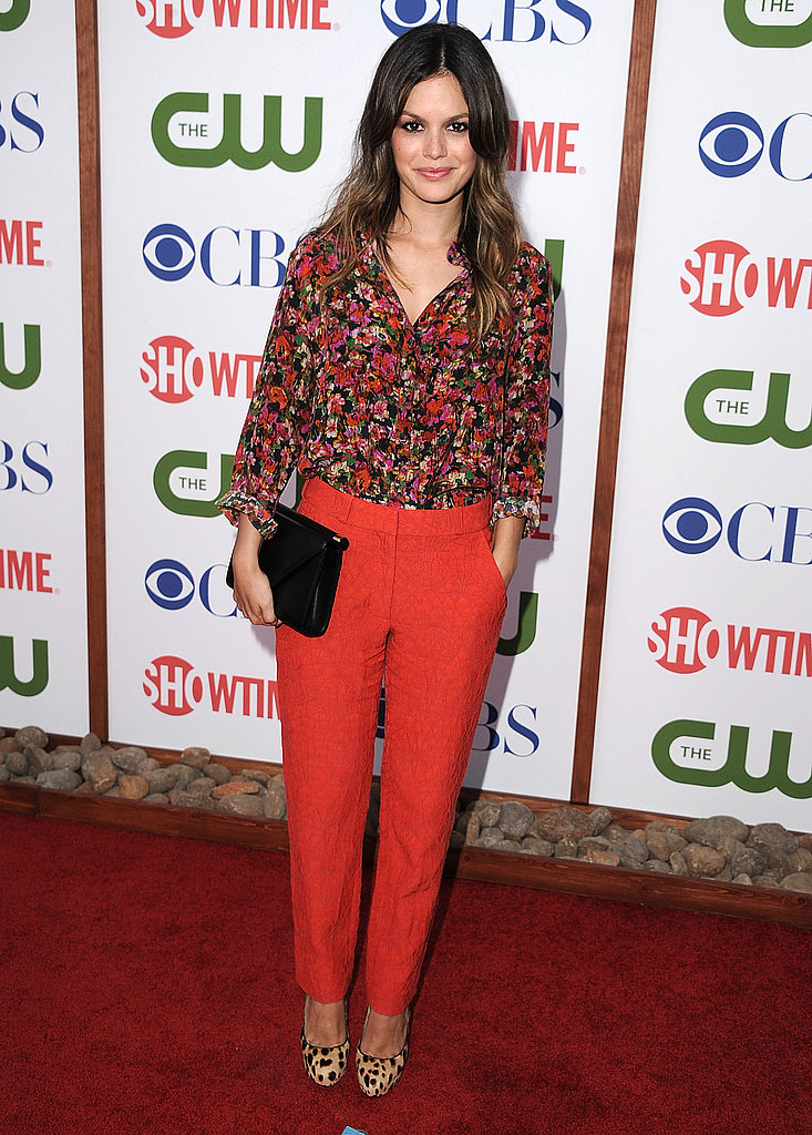 Rachel Bilson in Erdem separates, Christian Louboutin pumps, and Gisueppe Zanotti clutch.