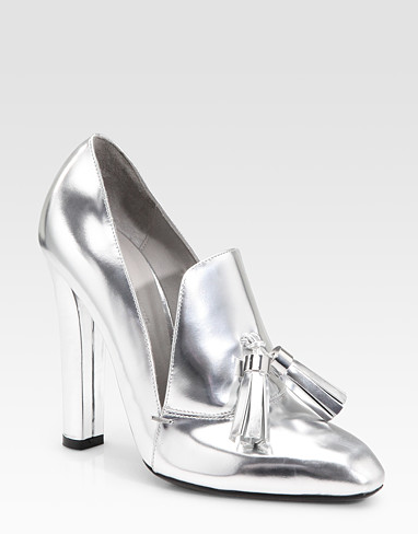 Alexander Wang Anais Metallic High Heel Loafer ($650)