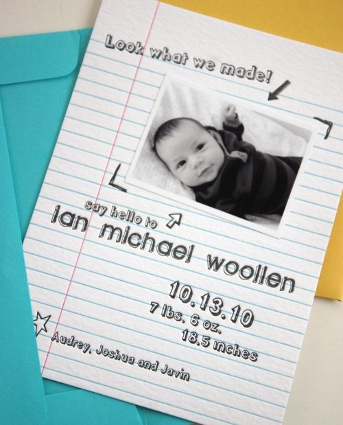 Letterpress Photo Birth Announcement: Notebook