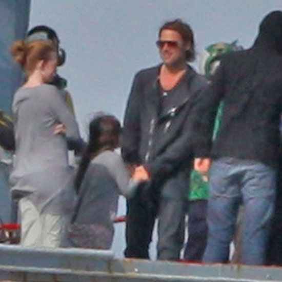 Brad Pitt films World War Z.