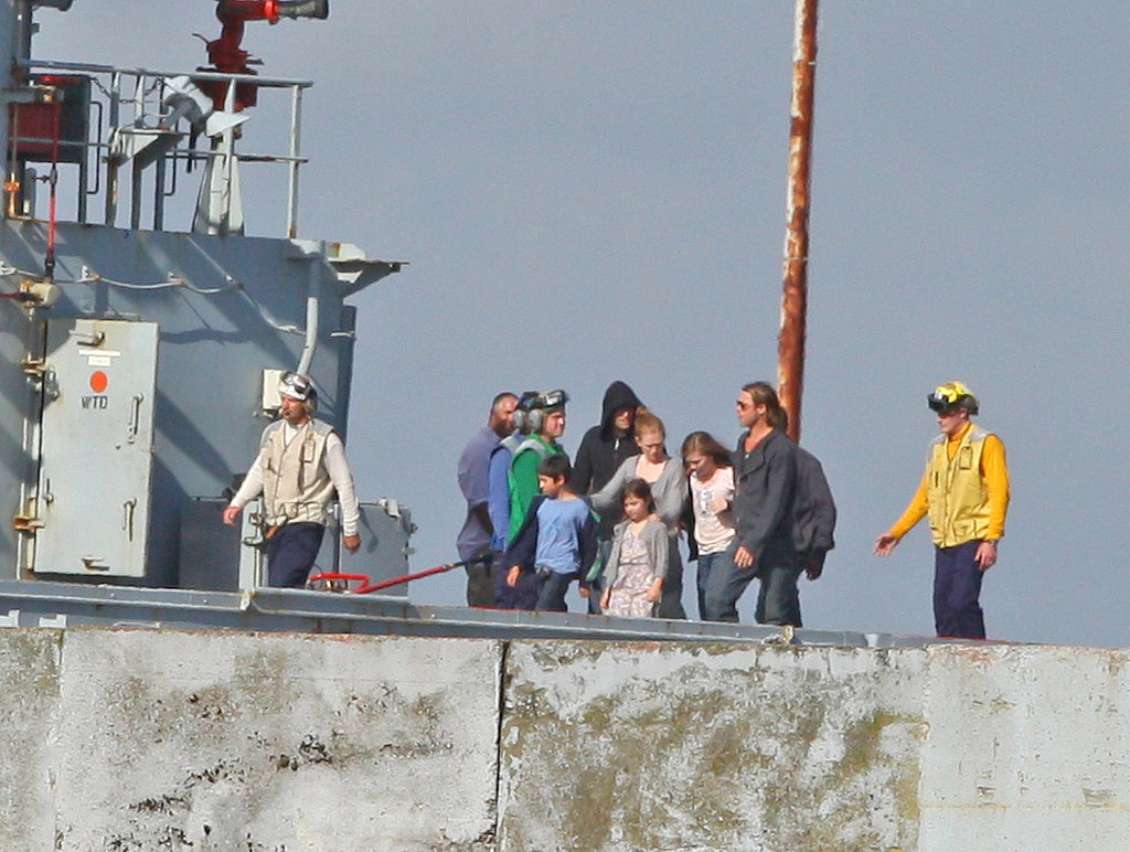 Brad Pitt on the World War Z set in Cornwall, England.