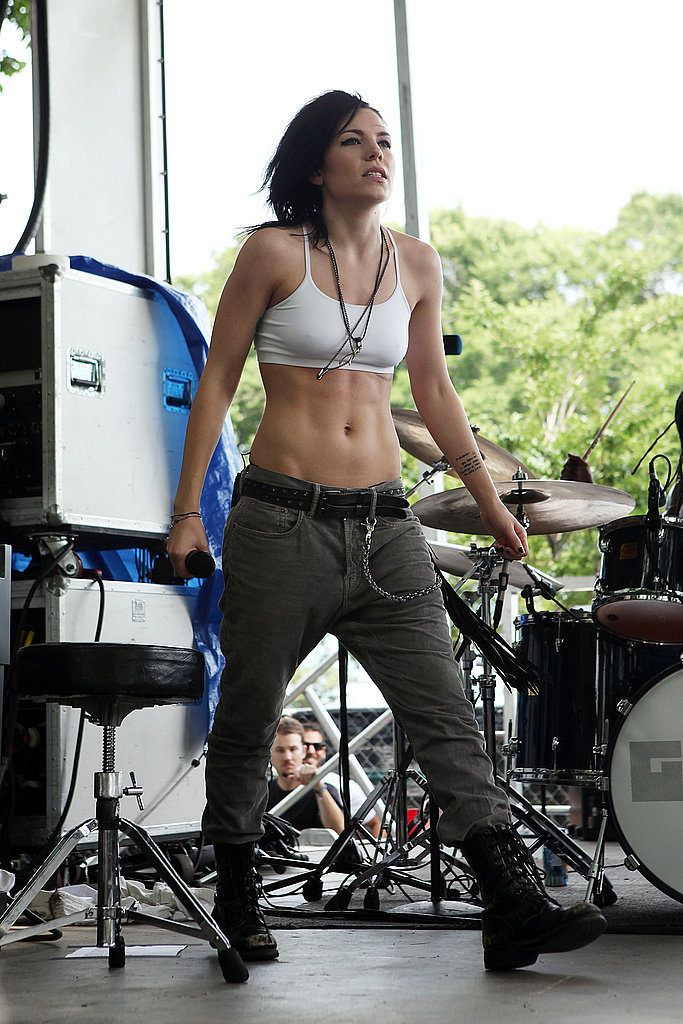 Skylar Grey from Phantogram showed off her rock-solid abs in cargo pants, a cropped tank, and tough boots.