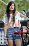 Peggy Wang of Peggy Wang of The Pains of Being Pure at Heart looked cute in a colorful striped tee and sailor shorts.