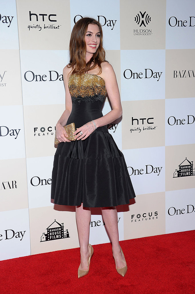Anne Hathaway at the One Day premiere.