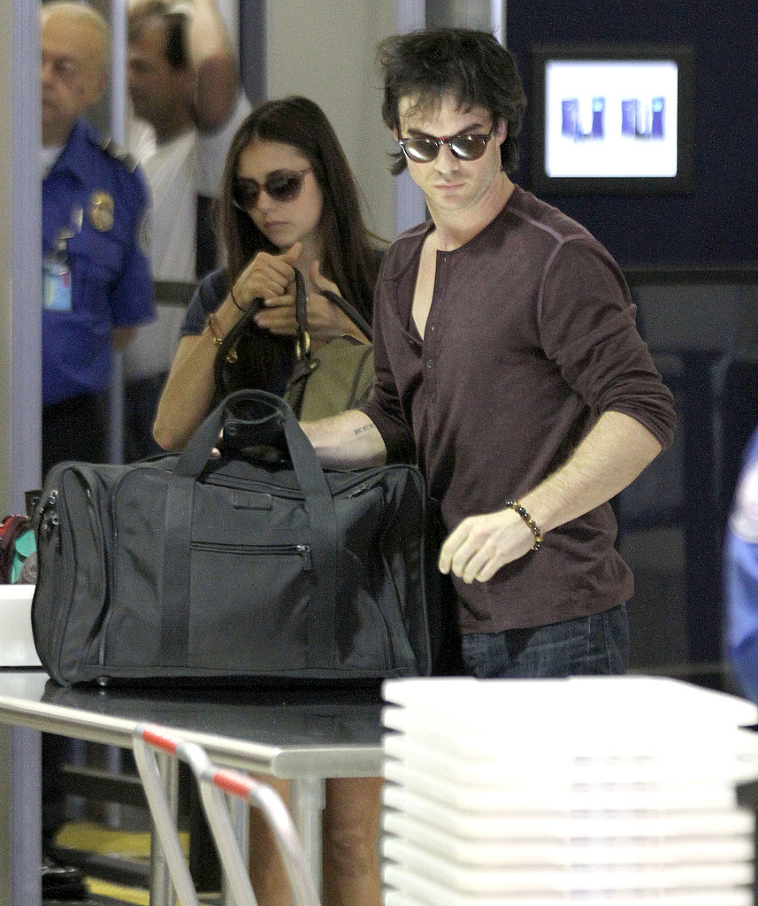 Ian Somerhalder and Nina Dobrev Have Lots to Celebrate as They Head Out of Town