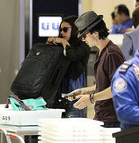 Ian Somerhalder and Nina Dobrev at airport security.