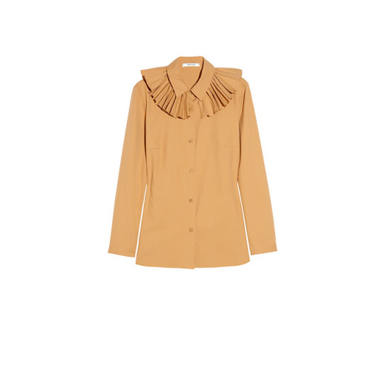 Carven Pleated-Collar Cotton Shirt, $440