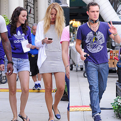 Blake Lively, Leighton Meester, and Ed Westwick Filming Gossip Girl in NYC Pictures