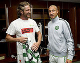 The Celtic players welcomed Gerard Butler into the locker room and even gave him his own jersey.